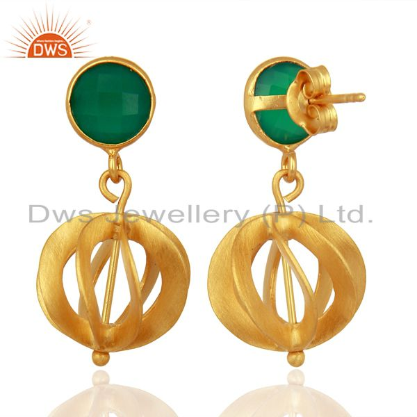 Suppliers Green Onyx Gemstone Filigree Ball Sterling Silver 18k Gold Plated Dangle Earring