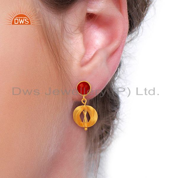 Suppliers Red Onyx Gemstone Filigree Ball Sterling Silver 18k Gold Plated Dangle Earring