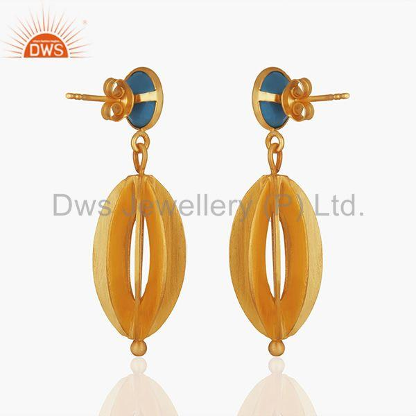 Suppliers Blue Chalcedony Gemstone Gold Plated 925 Silver Drop Earring Wholesale