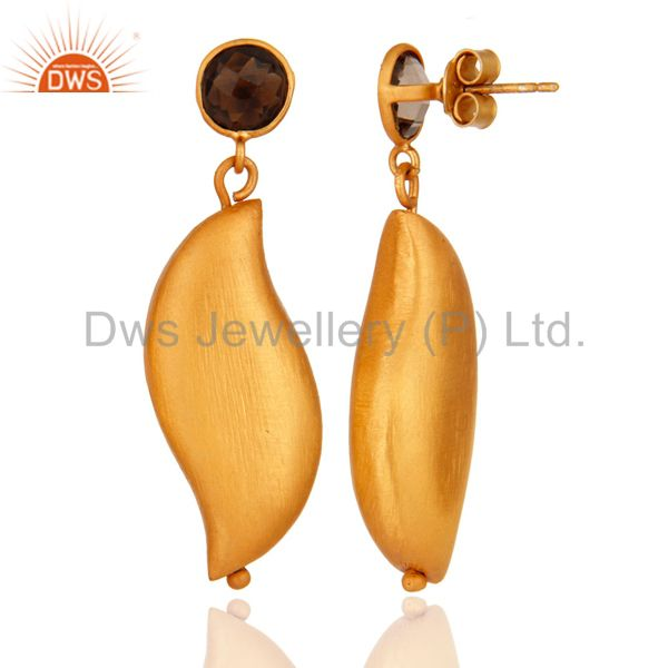 Suppliers Natural Smoky Quartz Brushed 925 Sterling Silver Earring With 22k Gold Plated