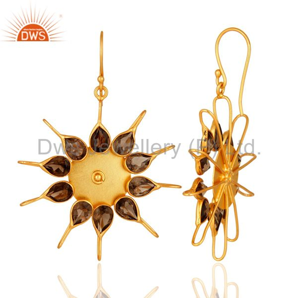 Suppliers Natural Smoky Quartz Gemstone Designer Earrings Made In 14K Yellow Gold Plated