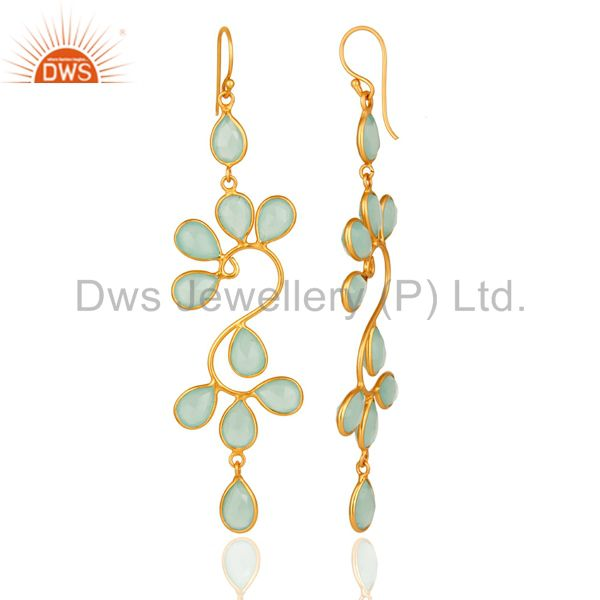 Suppliers Created Aqua Blue Chalcedony Handmade Sterling Silver Earrings With Gold Plated