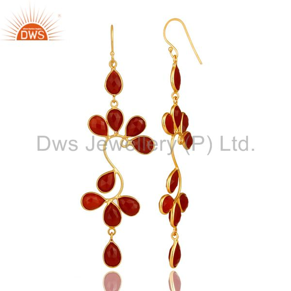 Suppliers 22K Yellow Gold Plated Sterling Silver Red Onyx Gemstone Dangle Earrings