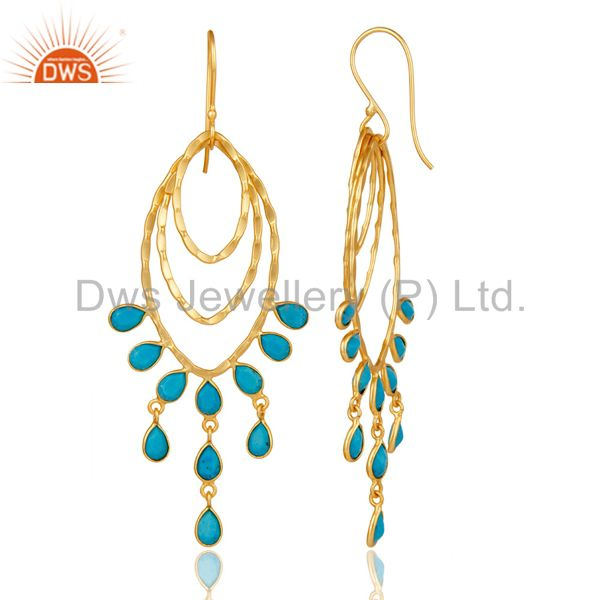 Suppliers 22K Gold Plated Sterling Silver Handmade Turquoise Gemstone Chandelier Earrings