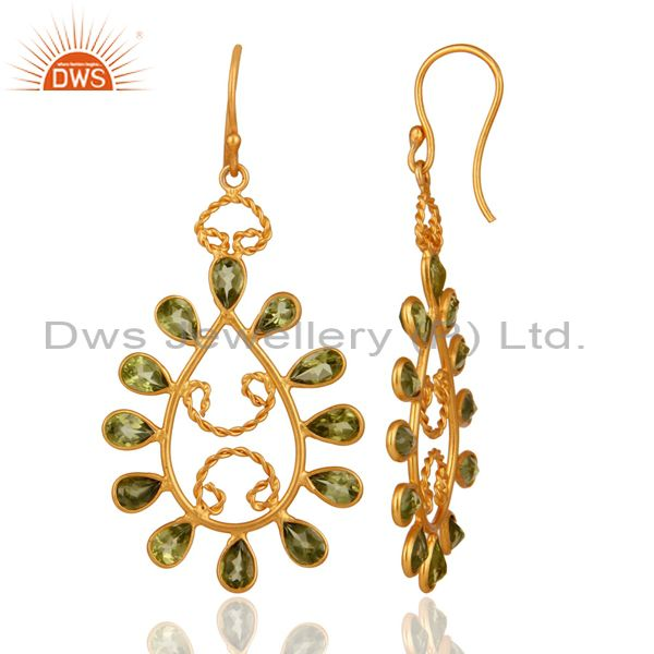 Suppliers Handmade 925 Sterling Silver Peridot Gemstone Earrings With 24K Gold Plated