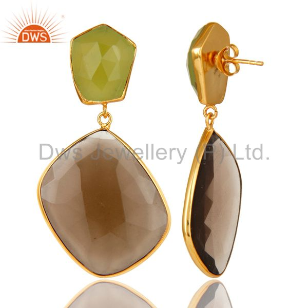 Suppliers 14K Gold Plated Sterling Silver Green Chalcedony And Smoky Quartz Drop Earrings