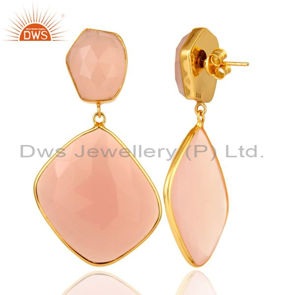 Suppliers Rose Chalcedony Gemstone Gold Plated Handmade Brass Fashion Earirngs