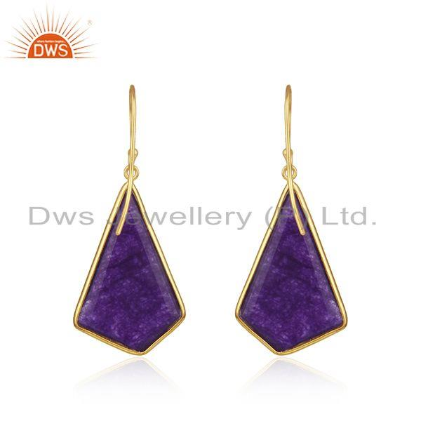 Suppliers Purple Aventurine Gemstone Gold Plated 925 Silver Earrings Manufacturer