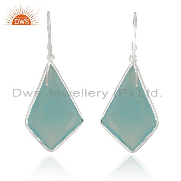 Suppliers Chalcedony Gemstone Fine Sterling Silver Earrings Manufacturer India