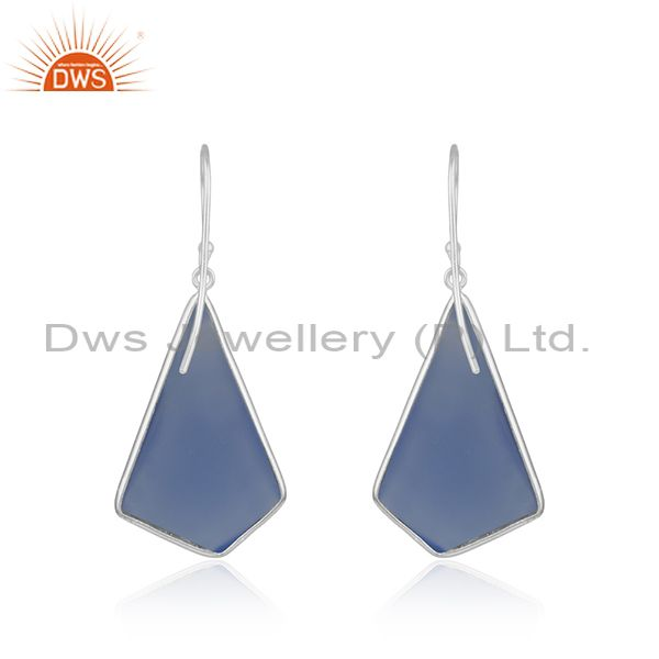 Suppliers Blue Chalcedony Gemstone Gold Plated 925 Silver Earrings Suppliers