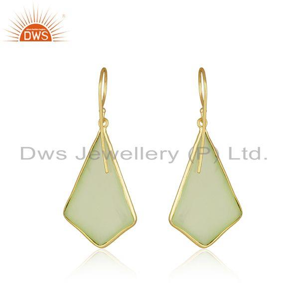 Suppliers Gold Plated 925 Silver Chalcedony Gemstone Earring Manufacturer