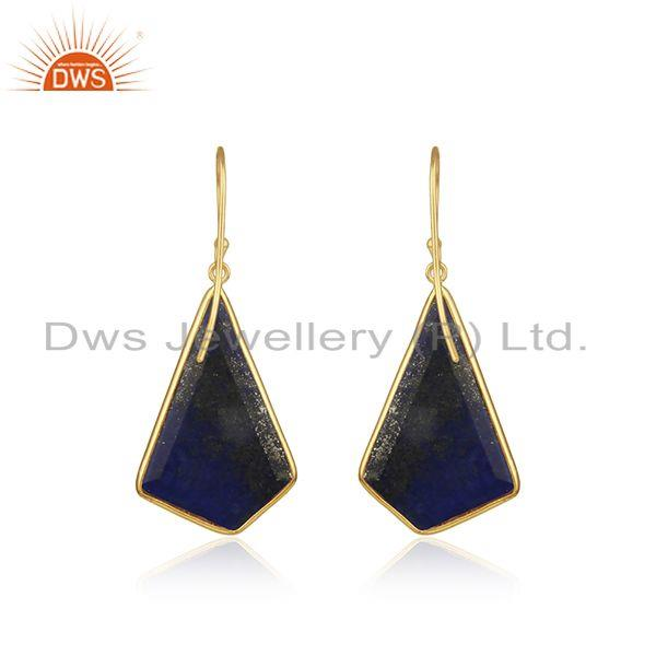 Suppliers Lapis Lazuli Gemstone Gold Plated 925 Silver Drop Earrings Suppliers