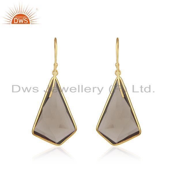 Suppliers Smoky Quartz Gemstone Gold Plated 925 Silver Earrings Manufacturer