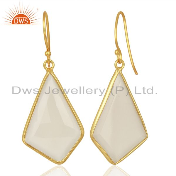Suppliers Dyed White Chalcedony Bezel Set Sterling Silver 18K Gold Plated Dangle Earrings