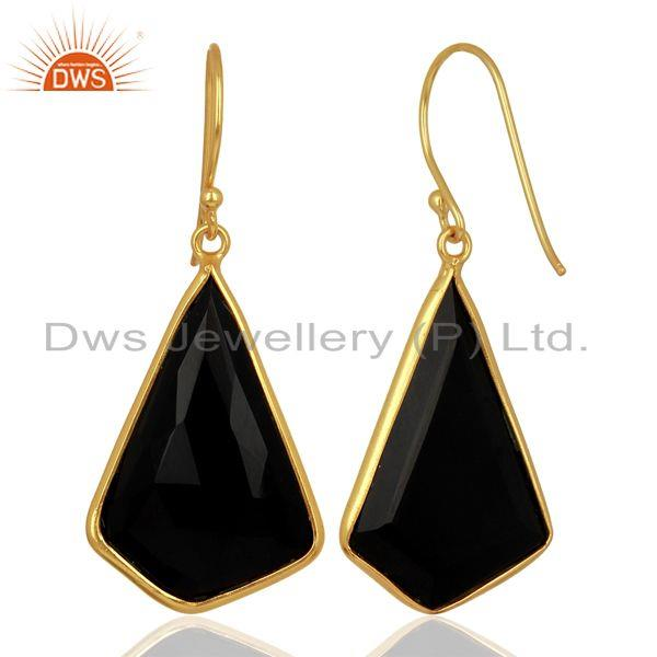 Suppliers Black Onyx Bezel Set Sterling Silver 18K Gold Plated Dangle Earrings