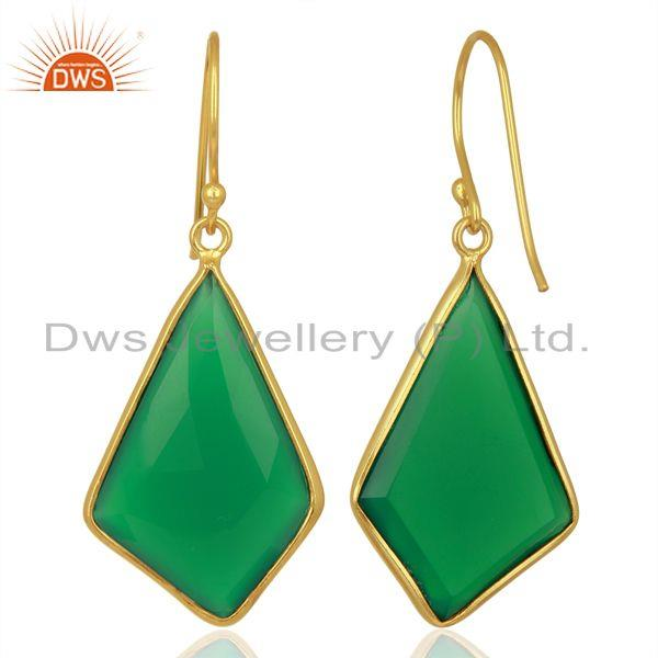 Suppliers Green Onyx Bezel Set 925 Sterling Silver 18K Gold Plated Dangle Earrings