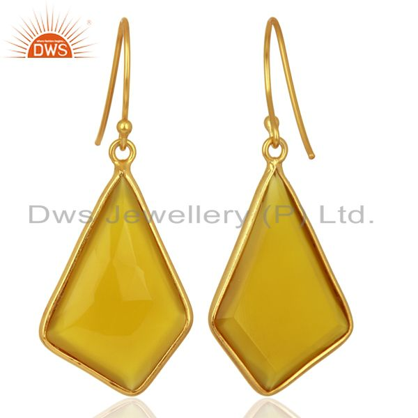 Suppliers Dyed Yellow Chalcedony Bezel Set Sterling Silver 18K Gold Plated Dangle Earrings