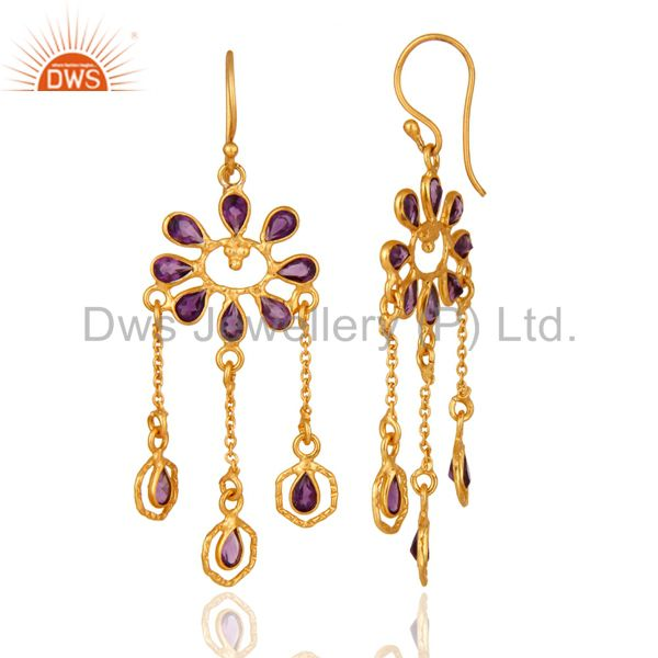Suppliers Handmade Sterling Silver Amethyst Gemstone Chandelier Earrings With 18K Plated