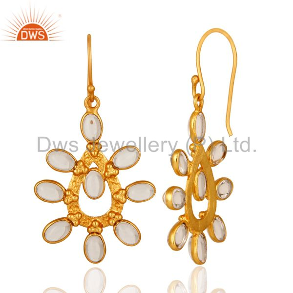 Suppliers Handmade Crystal Quartz 14K Yellow Gold Plated Over Brass Fashion Earrings