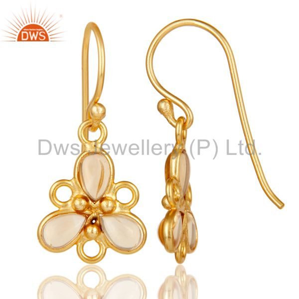 Suppliers Handmade 925 Sterling Silver Citrine Gemstone Earrings With 18K Gold Plated