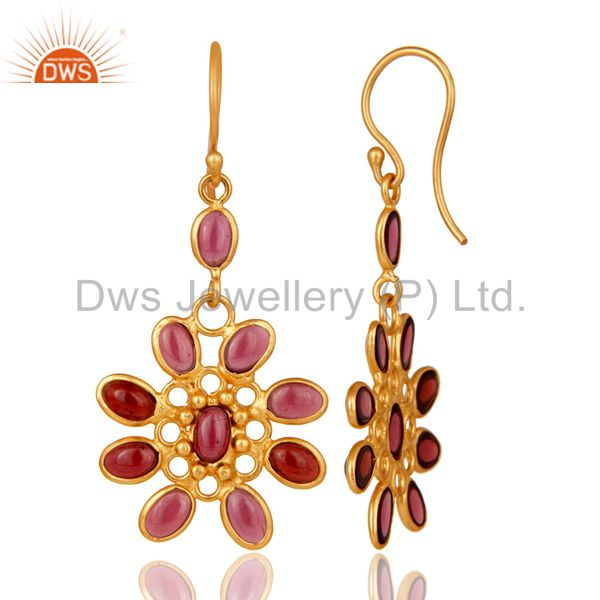Suppliers Handmade 925 Sterling Silver Garnet 22k Gold Plated Designer Gemstone Earrings