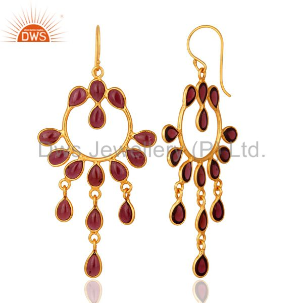Suppliers Handmade Natural Garnet Gemstone 925 Sterling Silver Earring With Gold Plated