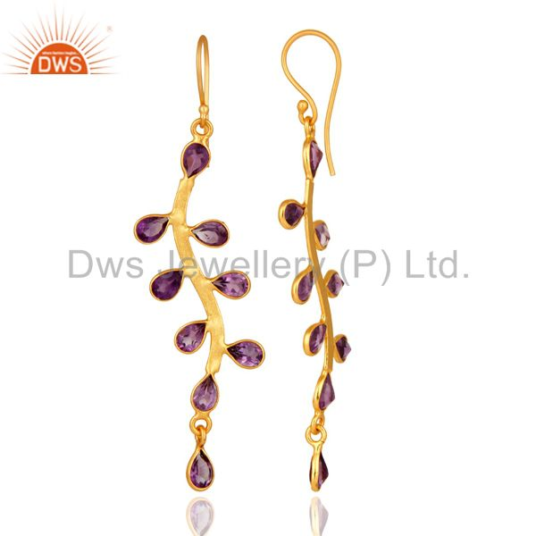 Suppliers 18K Yellow Gold Plated Natural Amethyst Gemstone Handmade Earrings