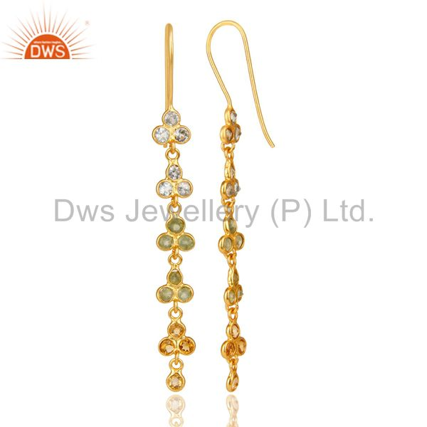 Suppliers 18K Gold Plated Sterling Silver Blue Topaz, Citrine And Peridot Dangle Earrings