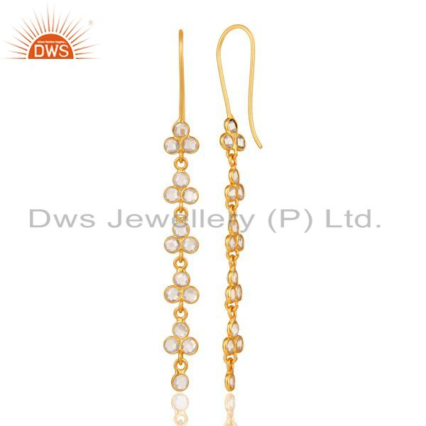 Suppliers Handmade 925 Sterling Silver White Zircon Gemstone Gold Plated Dangle Earrings