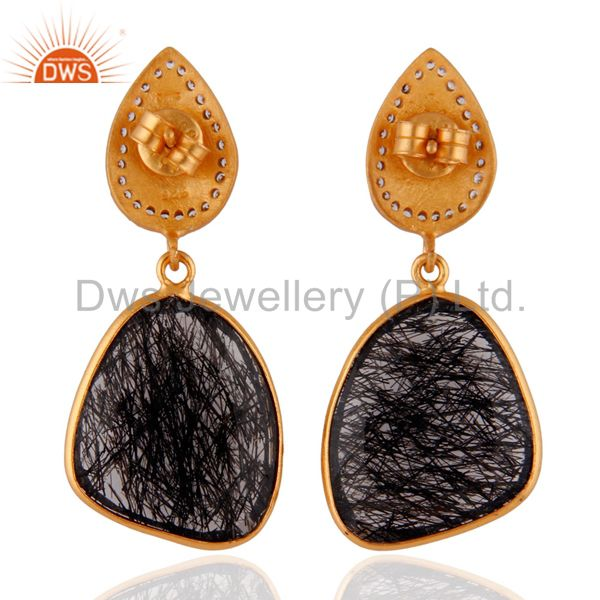 Suppliers 18K Yellow Gold Over 925 Sterling Silver Black Rutilated Quartz Dangle Earrings
