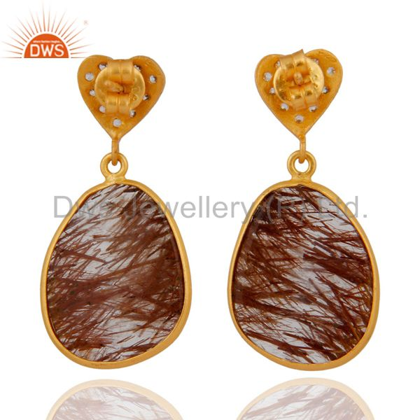 Suppliers 18k Gold Plated 925 Sterling Silver Rutilated Quartz Earring With Cubic Zirconia