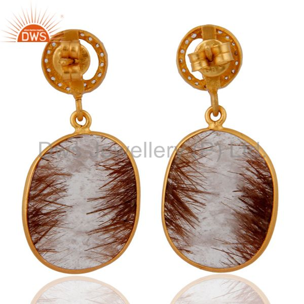 Suppliers Handmade Designer .925 Sterling Silver Rutilated Quartz Dangle Earring With CZ