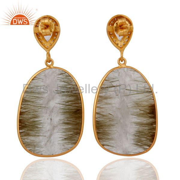 Suppliers 925 Sterling Silver Stunning Cubic Zirconia Rutile Quartz Post Stud Earrings