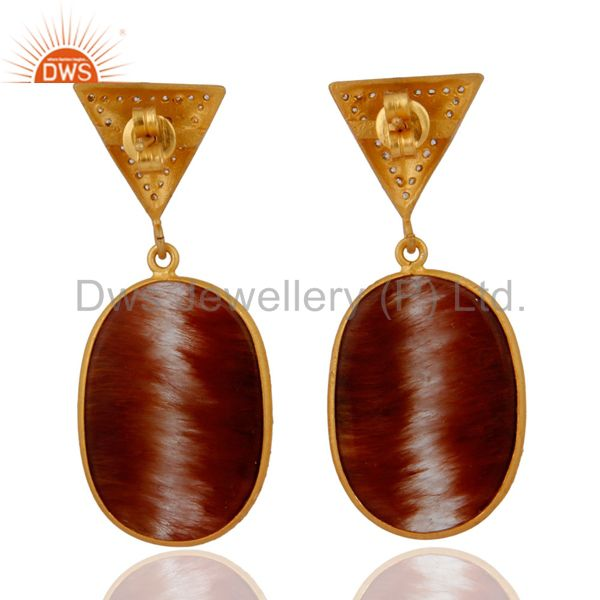 Suppliers 18KT Gold Plated Rutilated Quartz Slice CZ Earrings Made in 925 Sterling Silver