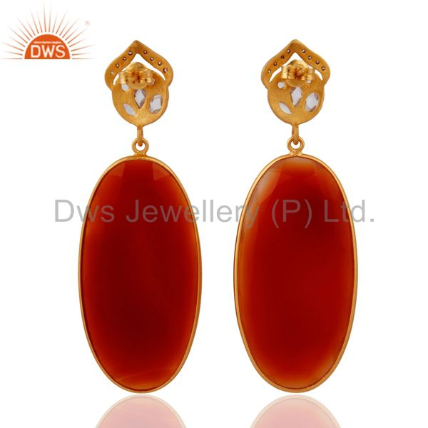 Suppliers Handmade 925 Sterling Silver Gold Plated Red Onyx Gemstone Dangle Earrings