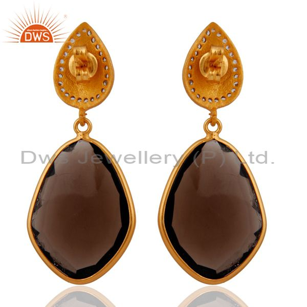 Suppliers 925 Sterling Silver Smoky Quartz Earrings 18k Gold Plated Wedding Jewelry