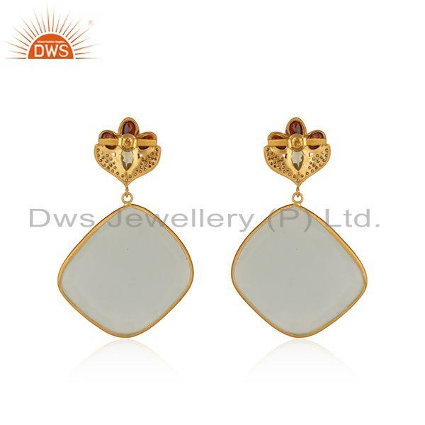 Suppliers Multi Gemstone Gold Plated Brass Fashion Earrings Manufacturers india