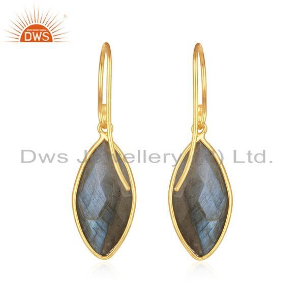 Suppliers Natural Labradorite Gemstone 14k Gold Plated 925 Silver Earrings
