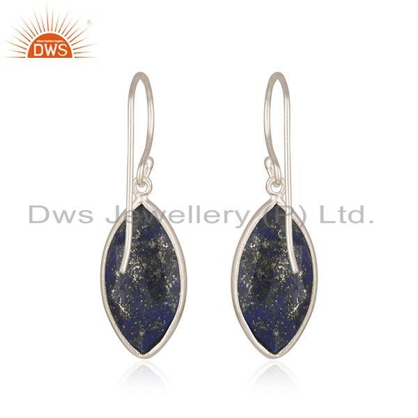 Suppliers Natural Lapis Lazuli Gemstone Fine Sterling Silver Earrings Wholesale