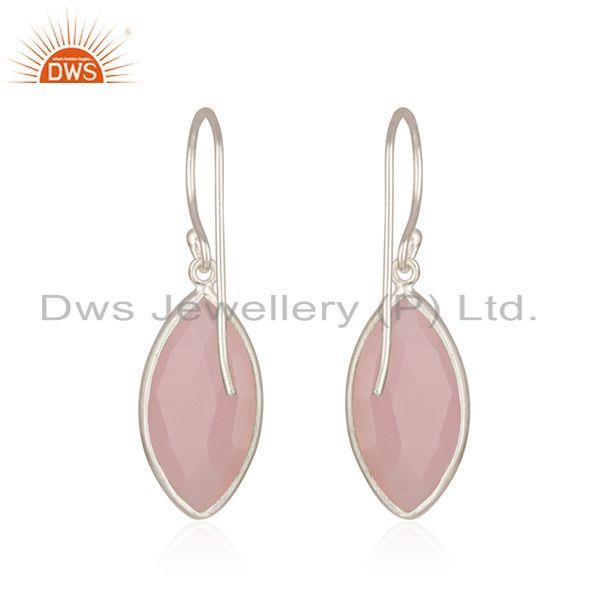 Suppliers Rose Chalcedony Gemstone Fine 925 Sterling Silver Earring Supplier