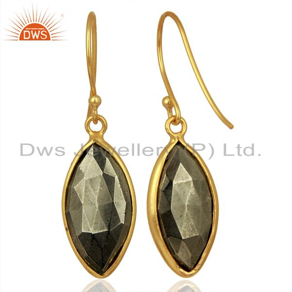 Suppliers Pyrite Gemstone Bezel Set Sterling 925 Silver 18K Gold Plated Dangle Earrings