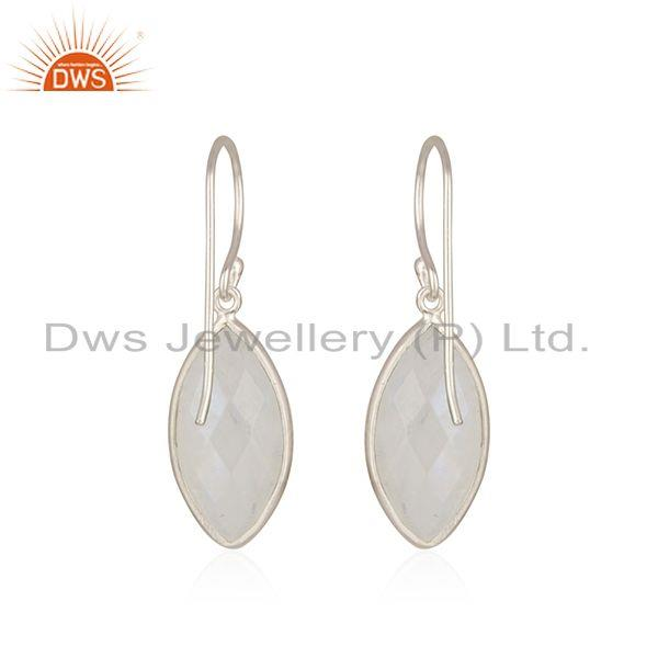 Suppliers Rainbow Moonstone Fine 925 Sterling Silver Simple Earring for Girls
