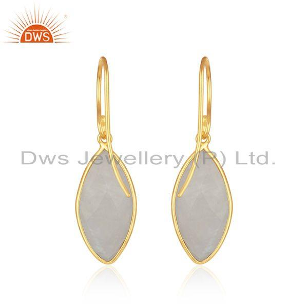 Suppliers Natural Rainbow Moonstone Gold Plated 925 Silver Earrings Supplier