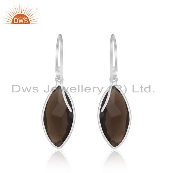 Suppliers Smoky Quartz Gemstone Fine 925 Sterling Silver Earrings Manufacturers