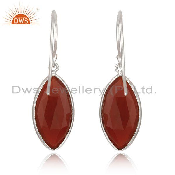 Suppliers Red Onyx Gemstone White Sterling Silver Drop Earrings Manufacturer