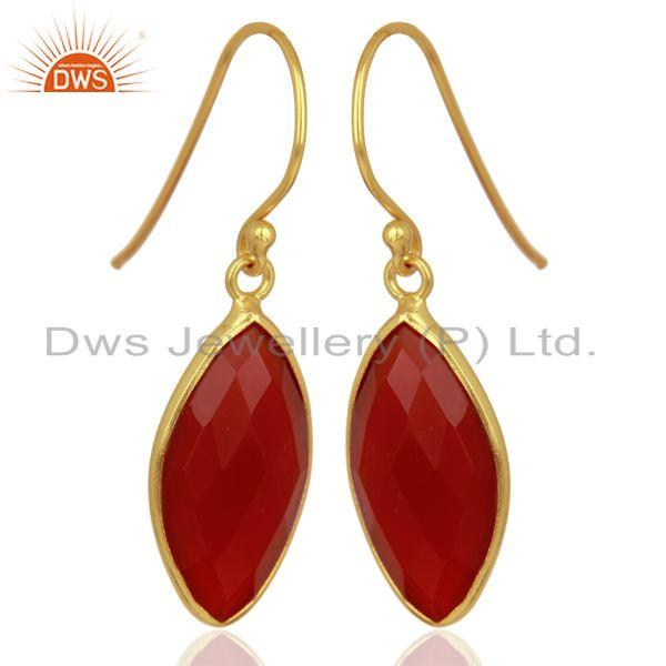 Suppliers Red Onyx Drop 14K Gold Plated 925 Sterling Silver Earrings Jewelry