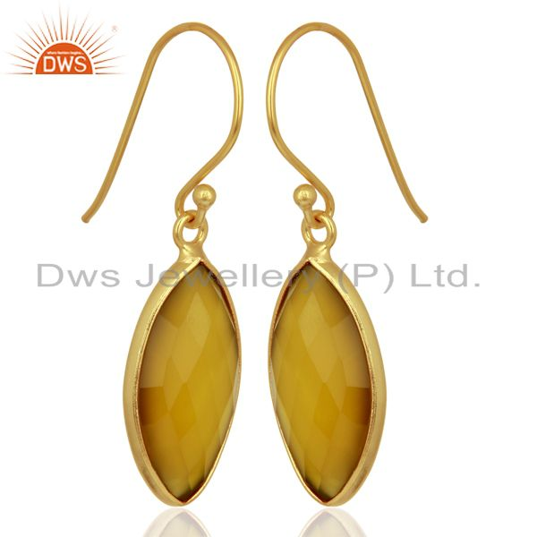 Suppliers Yellow Chalcedony Drop 14K Gold Plated 925 Sterling Silver Earrings Jewelry