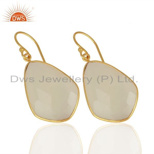 Suppliers White Chalcedony Gemstone Gold Plated Fashion Earring Manufacturer