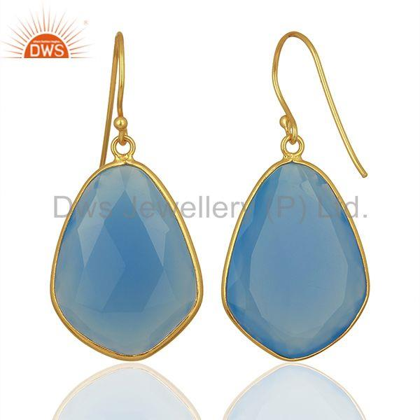 Suppliers Blue Chalcedony Gemstone 925 Silver Gold Plated Earrings Jewelry