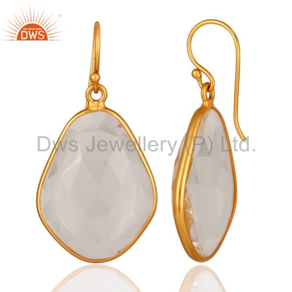 Suppliers Handmade Faceted Crystal Quartz Bezel Set Gold Plated Sterling Silver Earrings